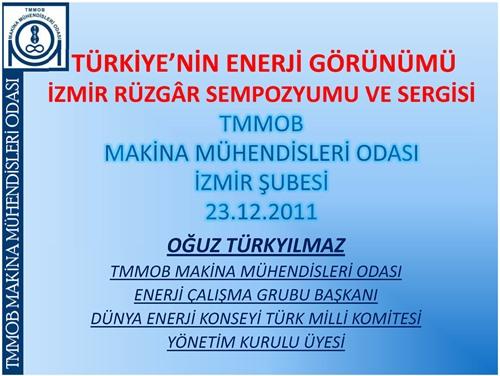 Türkiye'nin  Enerji  Görünümü ve Yenilenebilir Enerji Kaynakları